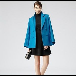 Reiss Slim Romoli Wool Coat In Turkish Blue